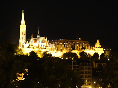 Matthias Church on the left, Fisherman's Bastion tower on the right