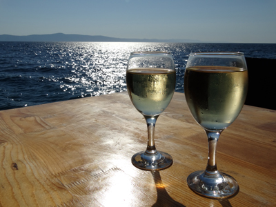 Local white wines are delicious - made even more special next to the water