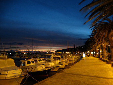 Baska Voda harbour by night