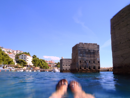 Bobbing about in the waters of Medici Beach