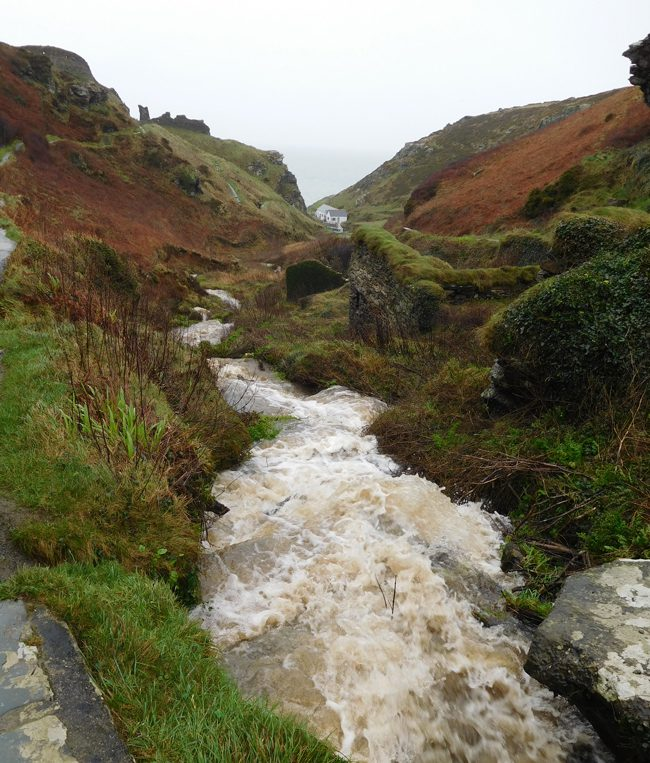 The walkway up to Tintagel Castle is pretty and crosses a surprisingly forceful stream.