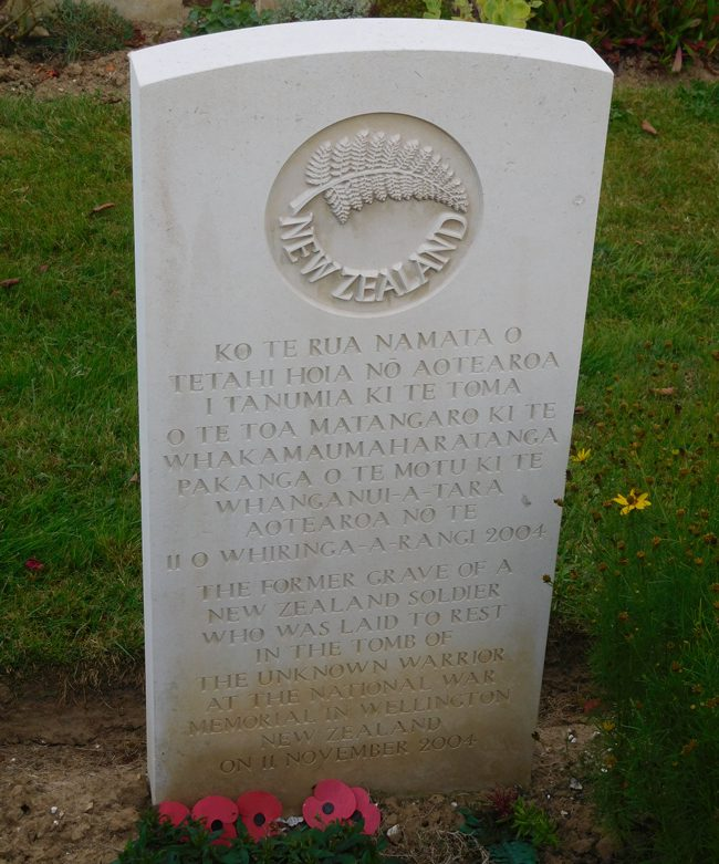 New Zealand's Unknown Soldier from Caterpillar Valley Cemetery.