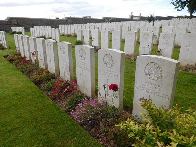 Aussie fallen at Serre Road Cemetery No. 1