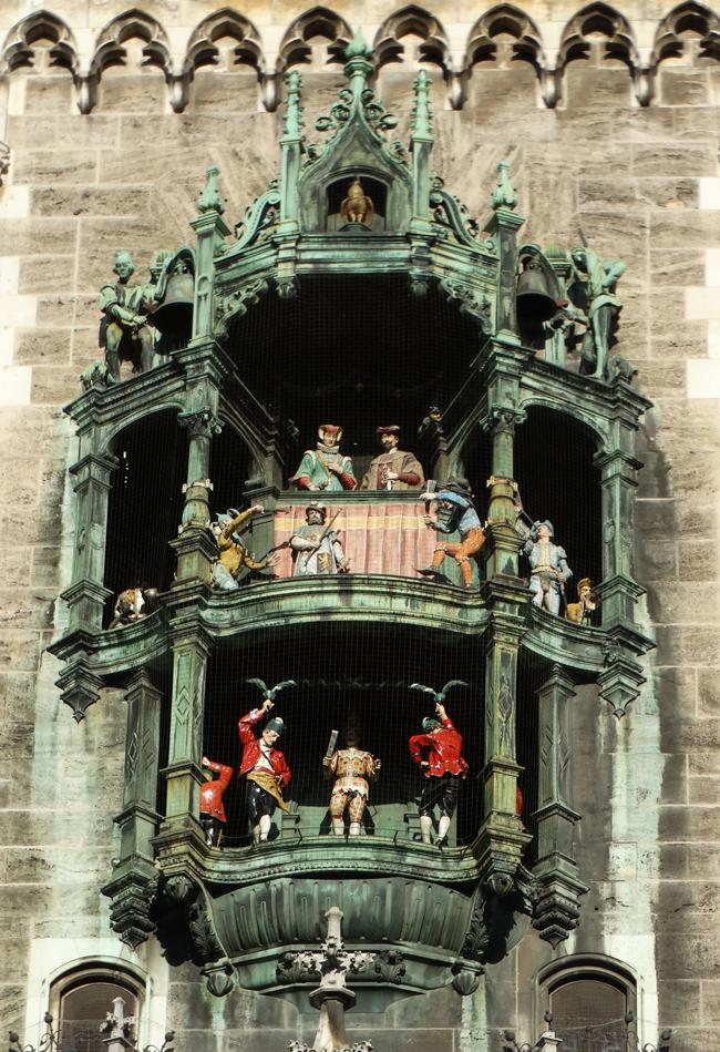 The Glockenspiel on the New Town Hall, Marienplatz, Munich