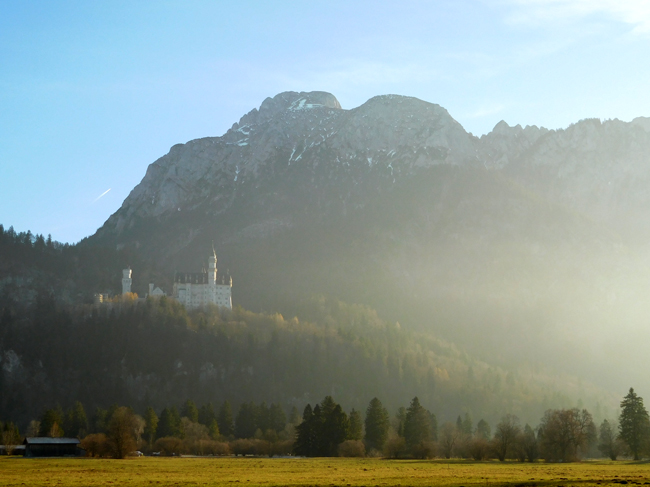 Neuschwanstein Castle nestled on its perch, bathed in afternoon sunshine