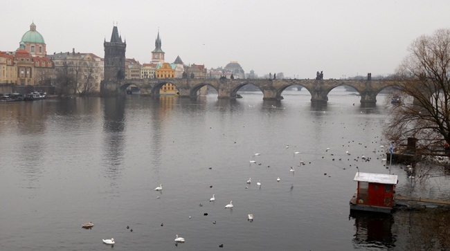 Vltava River and Charles Bridge after coming down from Prague Castle.