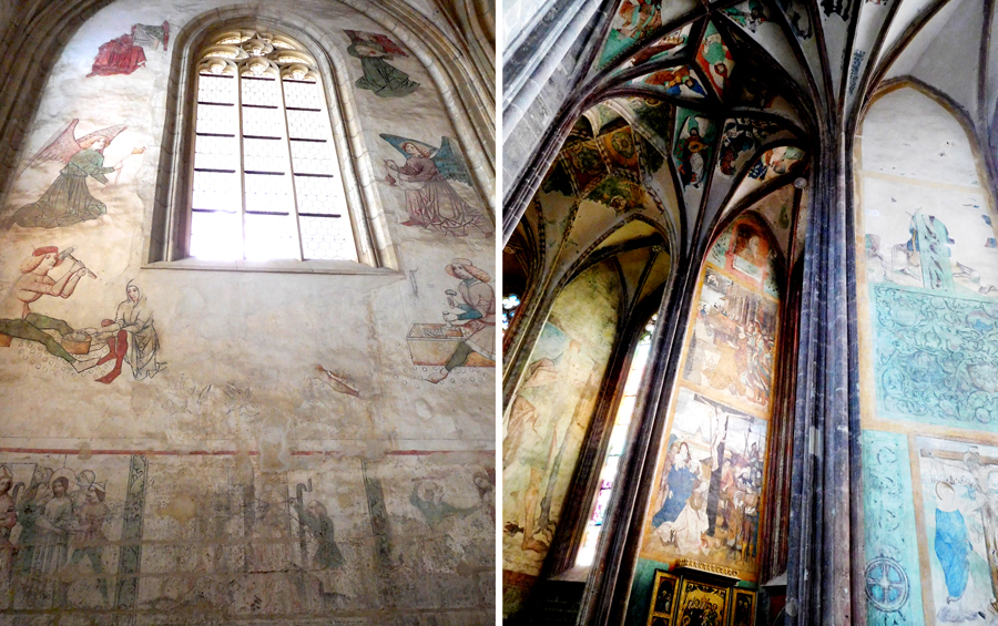 Interior walls of St Barbara's church feature medieval frescoes depicting the secular life of the town's mining and minting past and religious themes.
