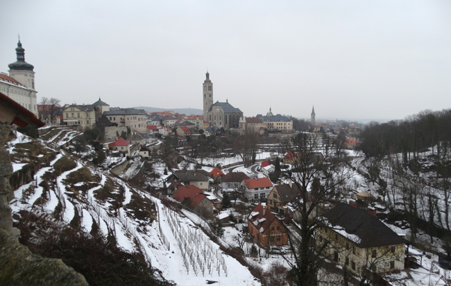 View over Kutna Hora from St Barbara's Church.