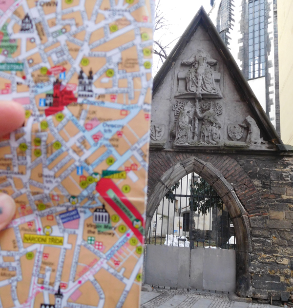 A method to job my memory of places we visited - photographed with the map...if only I could read the map then I would be able to tell you where this highly decorative gate was. 'Somewhere in Prague' is the best I can do!