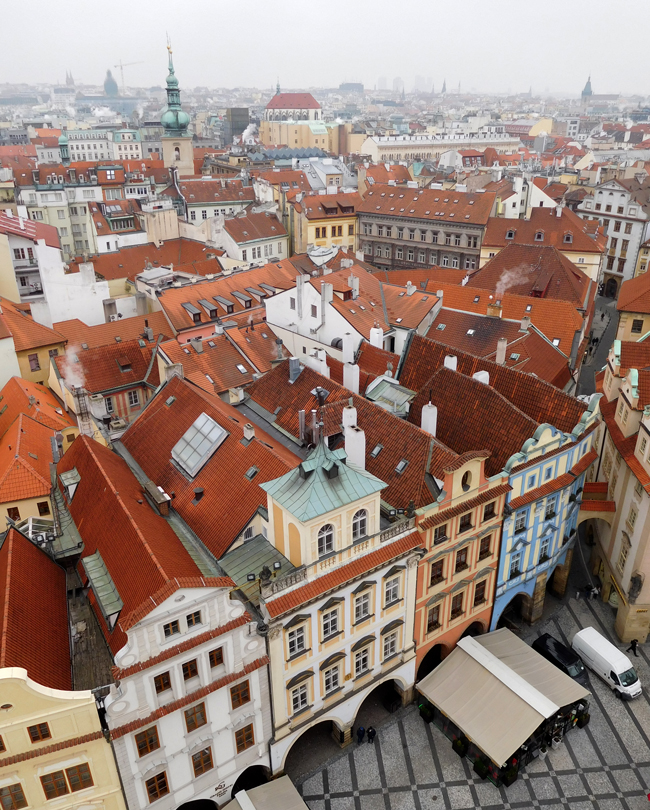 View over the city from the Old Town Hall Tower above the Astronomical Clock.