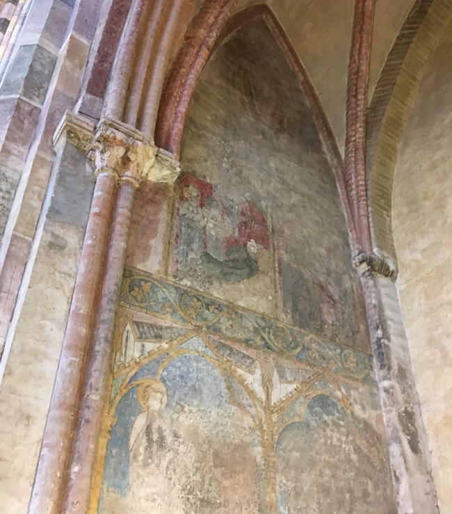 Original paintings uncovered under the whitewash at the Church of the Jacobins.